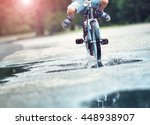 child on a bicycle at asphalt... | Shutterstock . vector #448938907