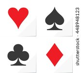 four card suits hearts spade... | Shutterstock .eps vector #448948123