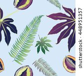 palm vector seamless pattern  | Shutterstock .eps vector #448951357