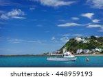 fishing boats in island bay... | Shutterstock . vector #448959193