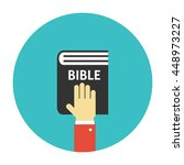 hand on the bible icon flat | Shutterstock .eps vector #448973227