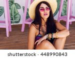 pretty beach woman in  bright... | Shutterstock . vector #448990843