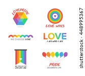 vector rainbow set of labels.... | Shutterstock .eps vector #448995367