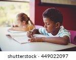 school kids doing homework in... | Shutterstock . vector #449022097