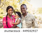 happy family posing together at ... | Shutterstock . vector #449032927
