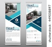 blue roll up business brochure... | Shutterstock .eps vector #449038897