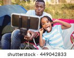 happy family enjoying together... | Shutterstock . vector #449042833