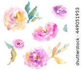 pink and yellow hand painted...   Shutterstock . vector #449051953