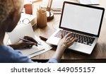 mock up copy space blank screen ... | Shutterstock . vector #449055157