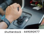 man driver hand shifting the... | Shutterstock . vector #449090977