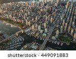 Stock photo aerial photography of false creek in downtown vancouver bc canada on a hazy sunny sunset 449091883
