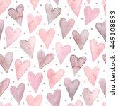 watercolor hearts seamless... | Shutterstock .eps vector #449108893