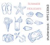 beach summer accessories.... | Shutterstock .eps vector #449113063