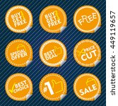 yellow sale stickers with tab ... | Shutterstock .eps vector #449119657