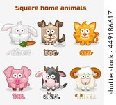 cute cartoon square home animals | Shutterstock . vector #449186617