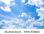 white fluffy clouds in the blue ... | Shutterstock . vector #449193883