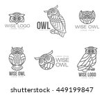 set of black and white owl logo ...