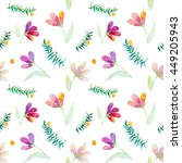 leaves and flowers pattern | Shutterstock . vector #449205943