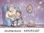 child reading with her... | Shutterstock . vector #449292187