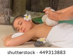 beautiful girl relaxes in the... | Shutterstock . vector #449313883