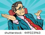 oops sorry business man. Pop art retro vector, realistic hand drawn illustration. businessman throws up his hands | Shutterstock vector #449323963