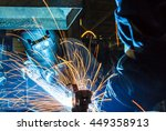 worker with protective mask... | Shutterstock . vector #449358913