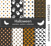 set of halloween backgrounds.... | Shutterstock .eps vector #449366923