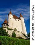 Small photo of View of Thun medieval castle in the Thun city, in Swiss canton of Bern, where the Aare river flows out of Lake Thun. Switzerland
