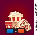 popcorn with soda tickets and... | Shutterstock .eps vector #449385577