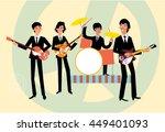 Music Retro Style Band. Beatle...