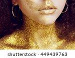 magic girl portrait in gold.... | Shutterstock . vector #449439763