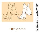 Card With Cute Cartoon Dog...