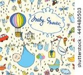 baby shower seamless pattern | Shutterstock .eps vector #449480503