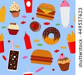 fast food seamless pattern with ... | Shutterstock . vector #449537623
