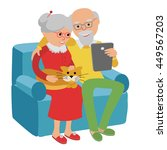 happy senior man and woman... | Shutterstock .eps vector #449567203