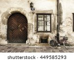 vintage street scene with large ... | Shutterstock . vector #449585293