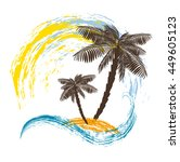 two palm trees on the island.... | Shutterstock .eps vector #449605123
