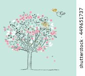 Blooming Tree And Birds