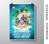 vector summer beach party flyer ... | Shutterstock .eps vector #449653513