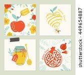 rosh hashana  jewish new year ... | Shutterstock .eps vector #449654887