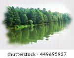 trees reflected in water.... | Shutterstock . vector #449695927