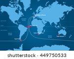 sailing race around the world | Shutterstock .eps vector #449750533