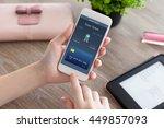 female hands holding white... | Shutterstock . vector #449857093