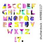 hand drawn alphabet. geometric... | Shutterstock .eps vector #449881117