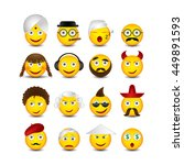 emoticons set on white... | Shutterstock .eps vector #449891593
