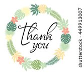 thank you card. floral  wreath. ... | Shutterstock .eps vector #449913007
