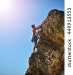 male climber in mountains.... | Shutterstock . vector #449913553