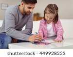 young father teaching his... | Shutterstock . vector #449928223