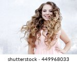beautiful young girl at the... | Shutterstock . vector #449968033