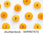 Pumpkins Patterned Over White...
